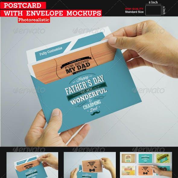 Postcard With Envelope Mockups