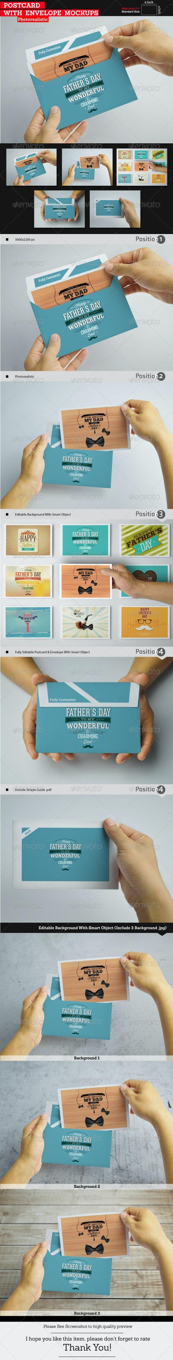 Postcard With Envelope Mockups - Print Product Mock-Ups