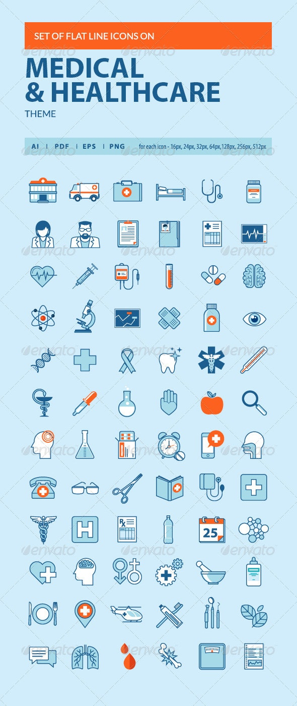 Set of Flat Line Icons on Medicine Theme - Objects Icons