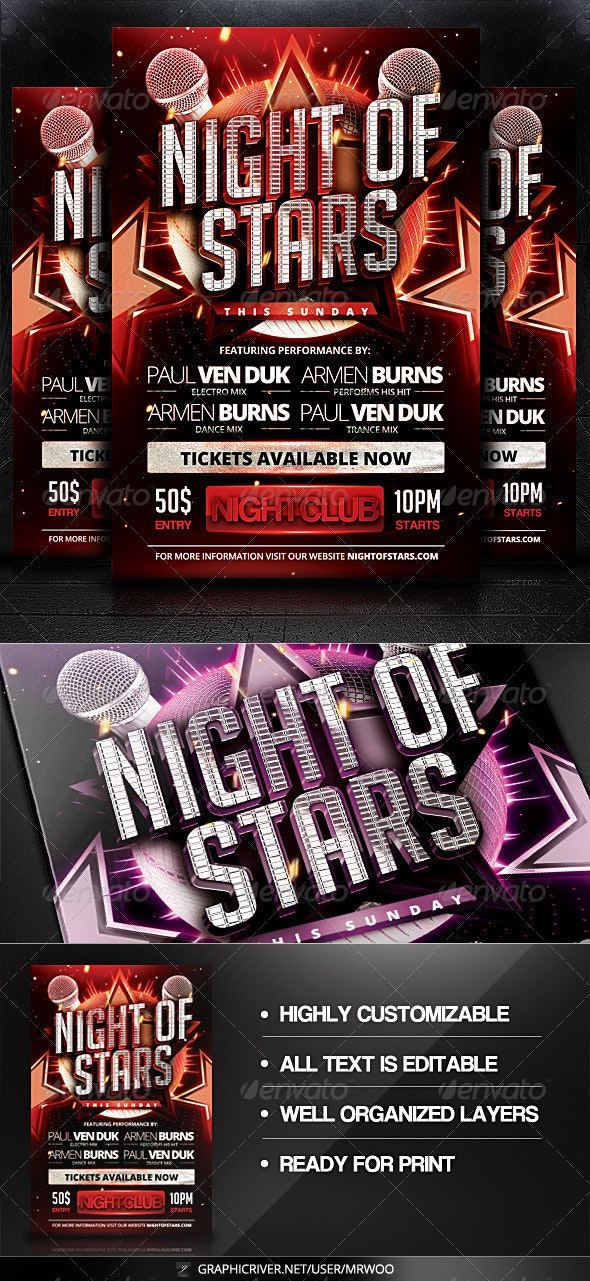 Night of Stars Flyer - Clubs & Parties Events