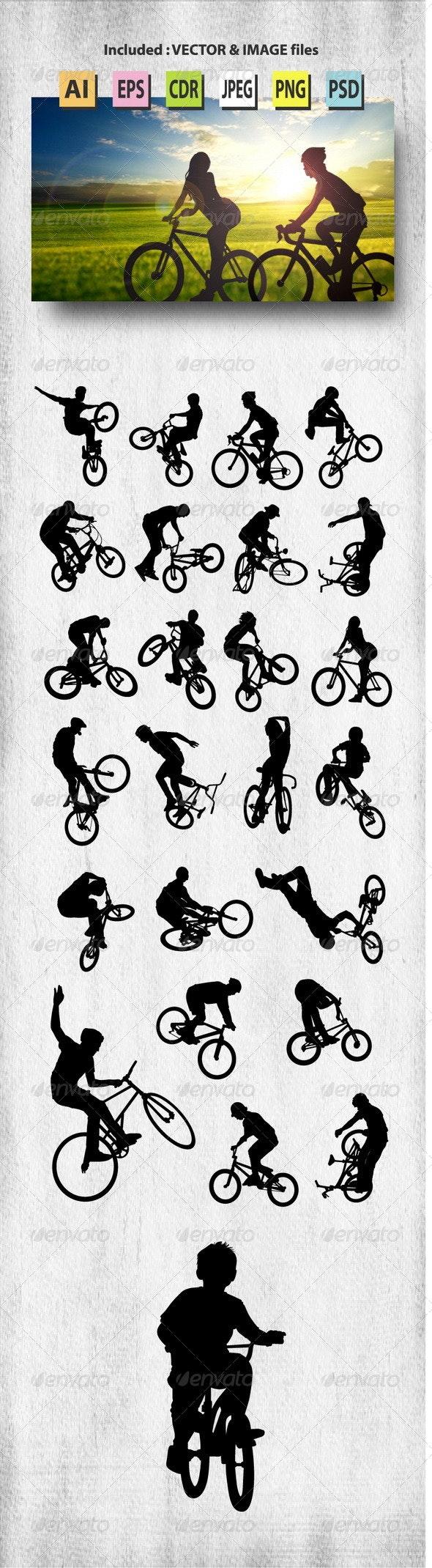 Bike Rider Silhouettes - Sports/Activity Conceptual