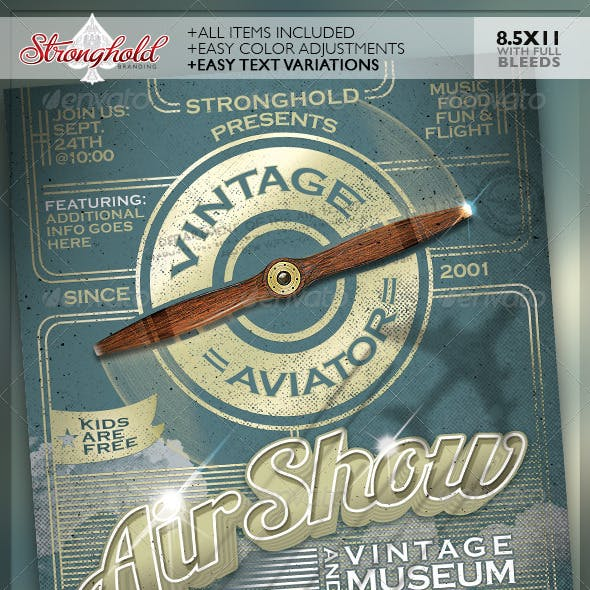 Vintage Air Show Event Flyer Template