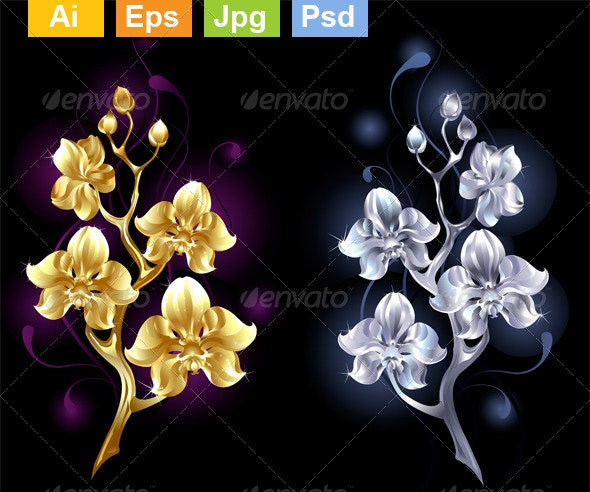 Gold and Silver Orchids - Flourishes / Swirls Decorative