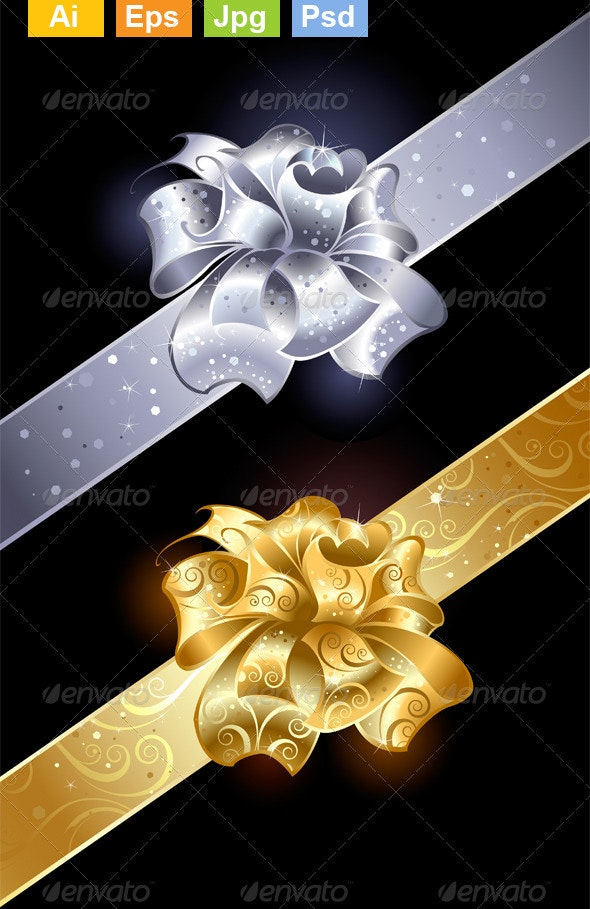 Gold and Silver Bows - Decorative Vectors