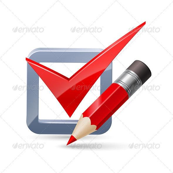 Pencil and Tick Mark Icon - Web Elements Vectors