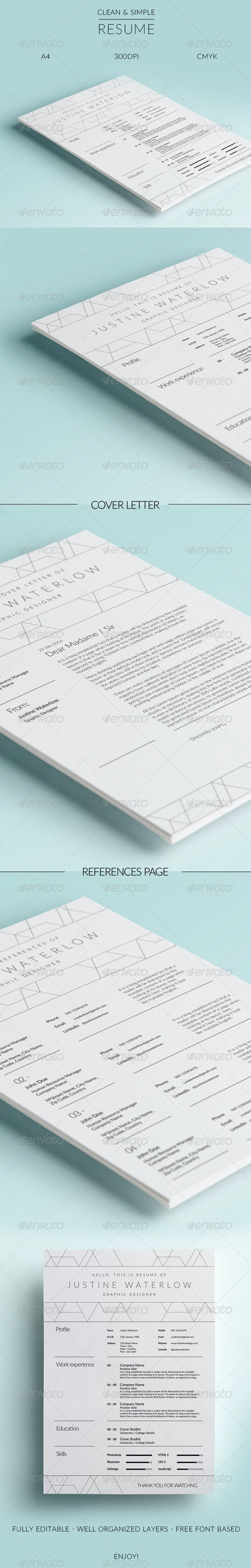 Clean And Simple Resume / CV - Resumes Stationery