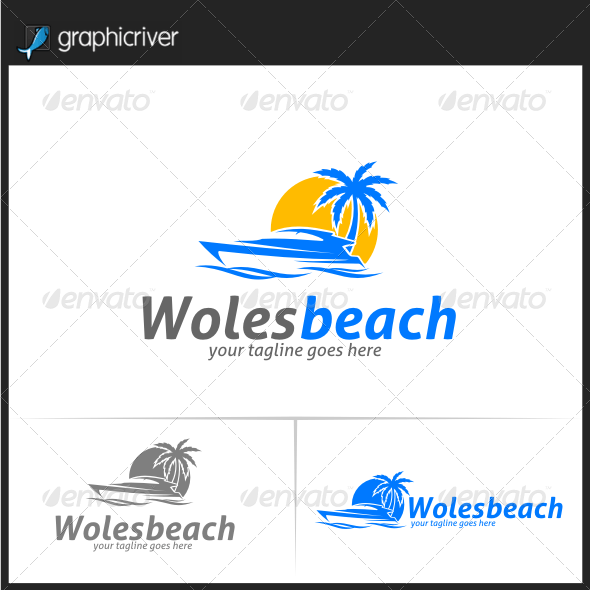 Woles Beach Logo Templates