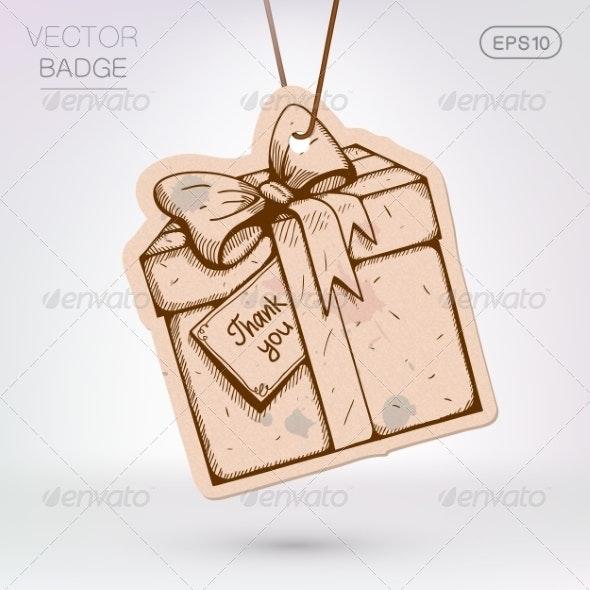 Vintage Styled Label. Present Surprise Box. - Decorative Symbols Decorative
