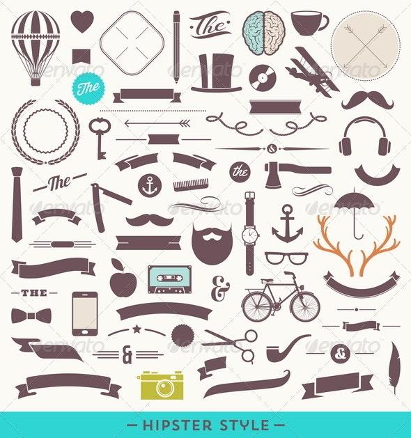 Hipster Design Elements - Decorative Vectors