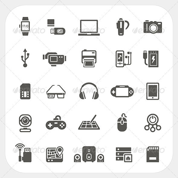 Electronic and Gadget Icons Set  - Technology Conceptual