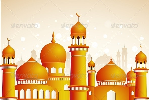 Arabic Mosque on Shiny Light Background. - Buildings Objects