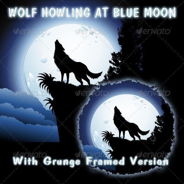 Wolf Howling at Blue Moon - Animals Characters