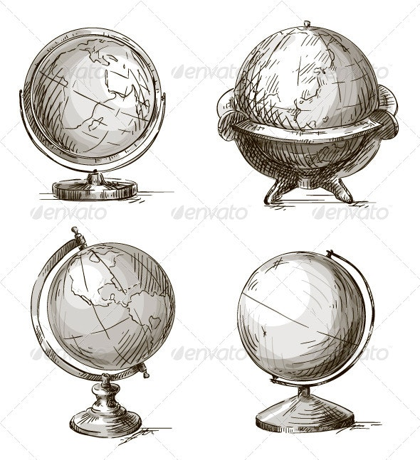 Set of Four Hand Drawn Globes - Objects Vectors
