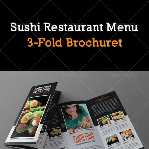 Sushi Restaurant Menu 3-Fold Brochure