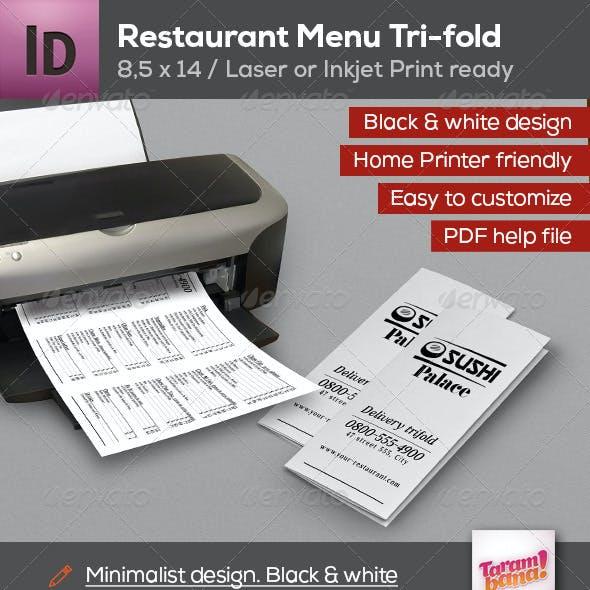 Restaurant Menu Trifold Friendly Laser Printer