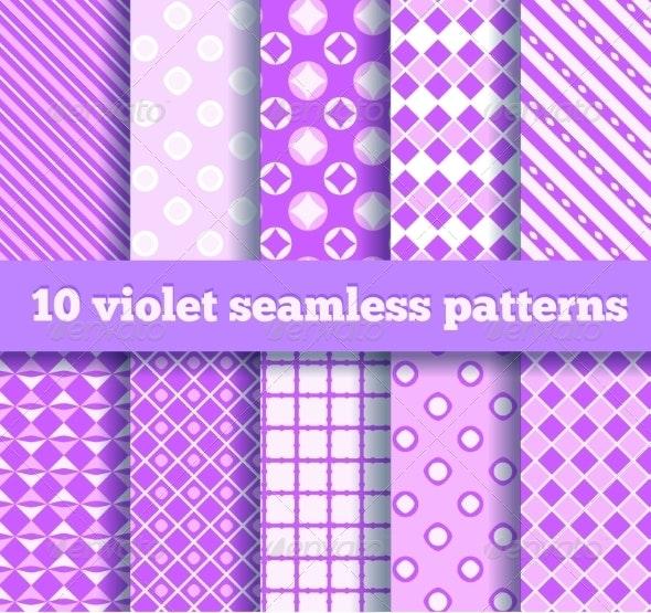 Set of Ten Seamless Geometric Violet Patterns - Patterns Decorative