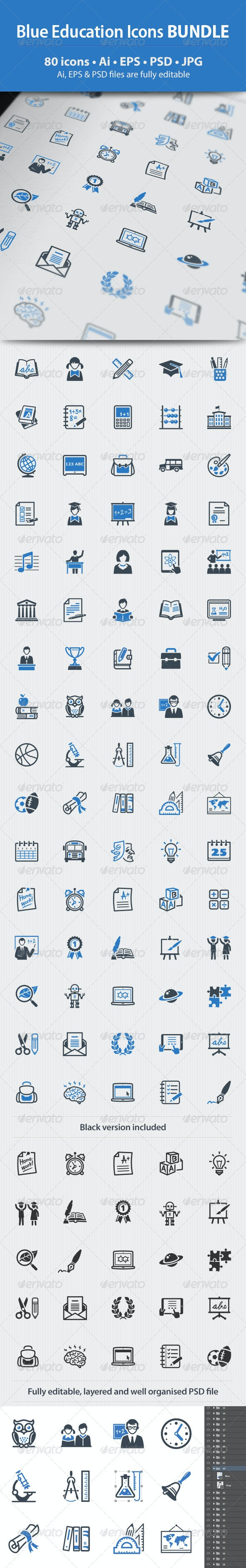 Education Icons - Blue Series Bundle - Web Icons