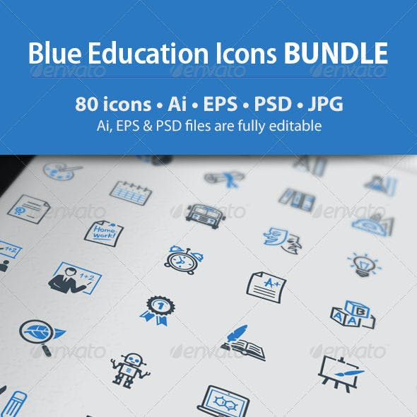 Education Icons - Blue Series Bundle