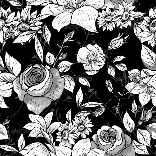 Seamless Monochrome Floral Rose Background  - Patterns Decorative