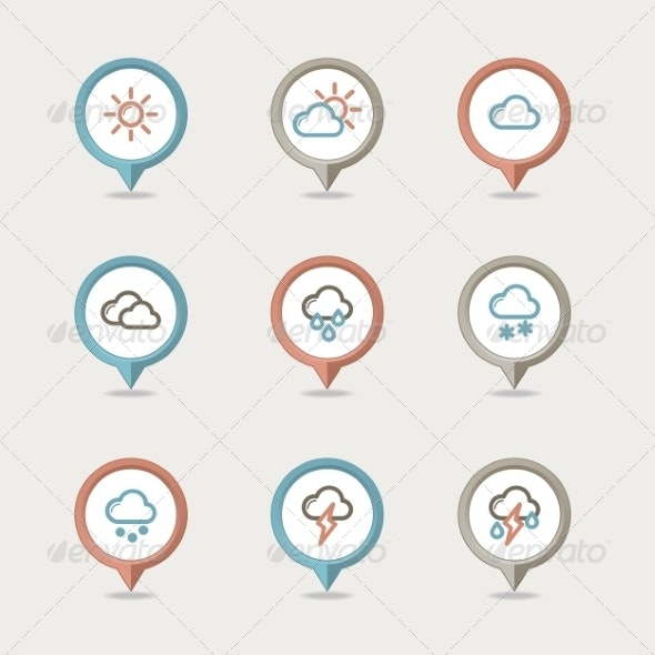 Weather Mapping Pins Icon  - Web Icons