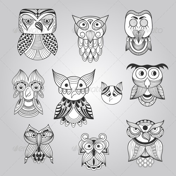 Set of 10 Doodle Owls - Animals Characters