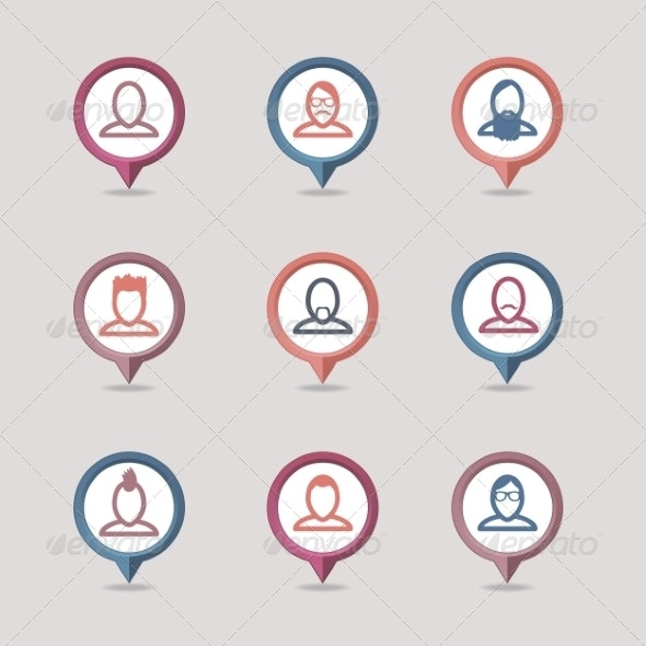 Mapping Pins Icon - People Characters