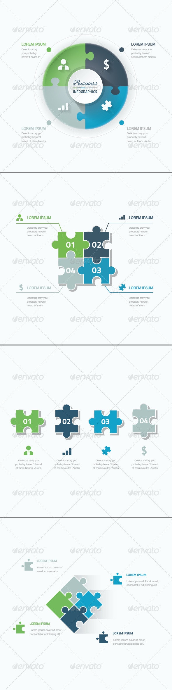 Set of Puzzle Pieces Vector Infographic Templates - Infographics