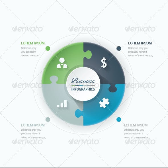 Set of Puzzle Pieces Vector Infographic Templates