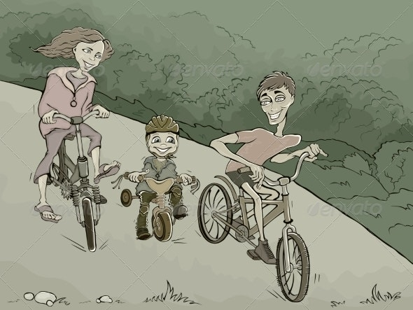 Family on Bikes - Miscellaneous Characters