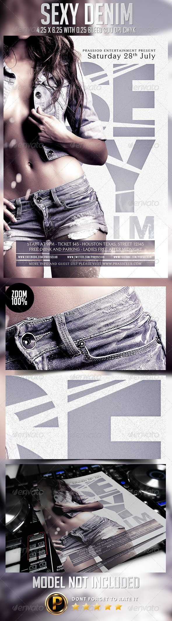 Sexy Denim Flyer Template - Clubs & Parties Events