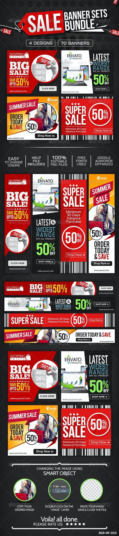 Product Sale Banners Bundle - 4 Sets - Banners & Ads Web Elements