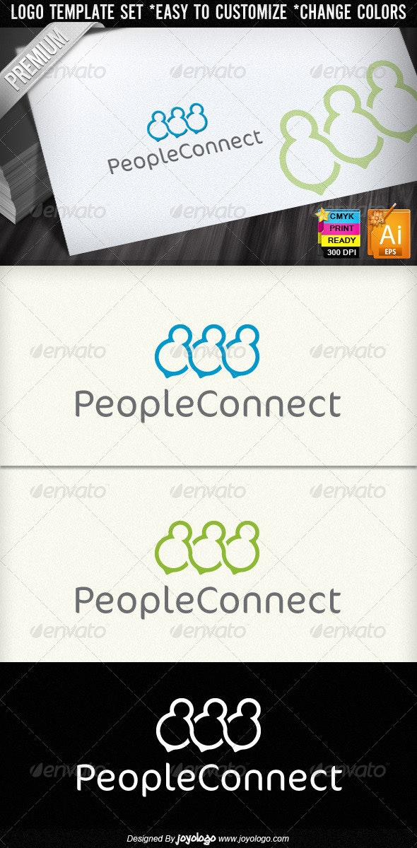 People Connect Social Media Logo Designs - Humans Logo Templates