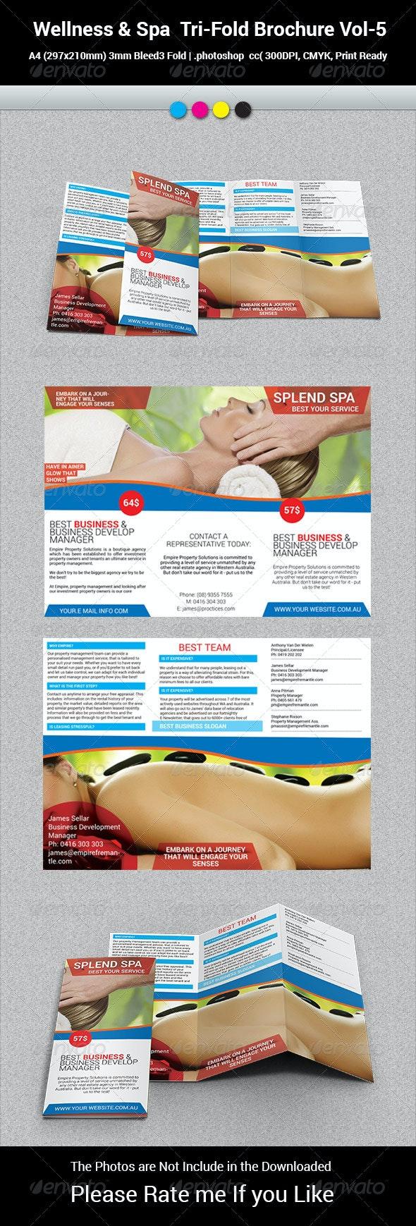 Wellness & Spa  Tri-Fold Brochure Vol-5 - Catalogs Brochures