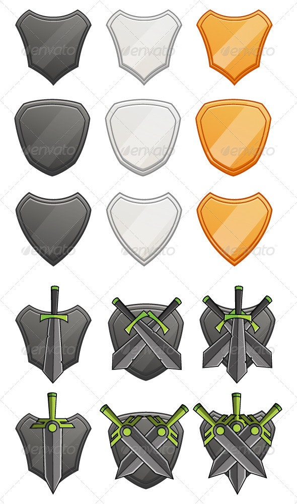 Sheild and Sword - Objects Vectors