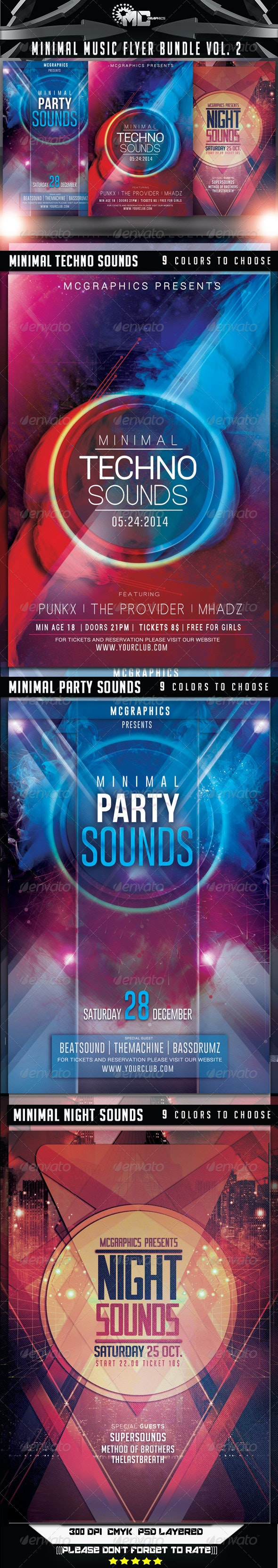 Minimal Music Flyer Bundle Vol. 2 - Clubs & Parties Events