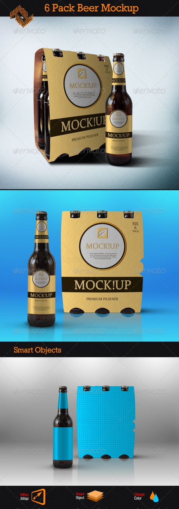 6 Pack Beer Mockup - Food and Drink Packaging