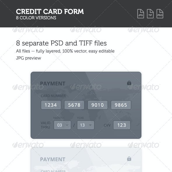 Credit Card 8 Color Forms