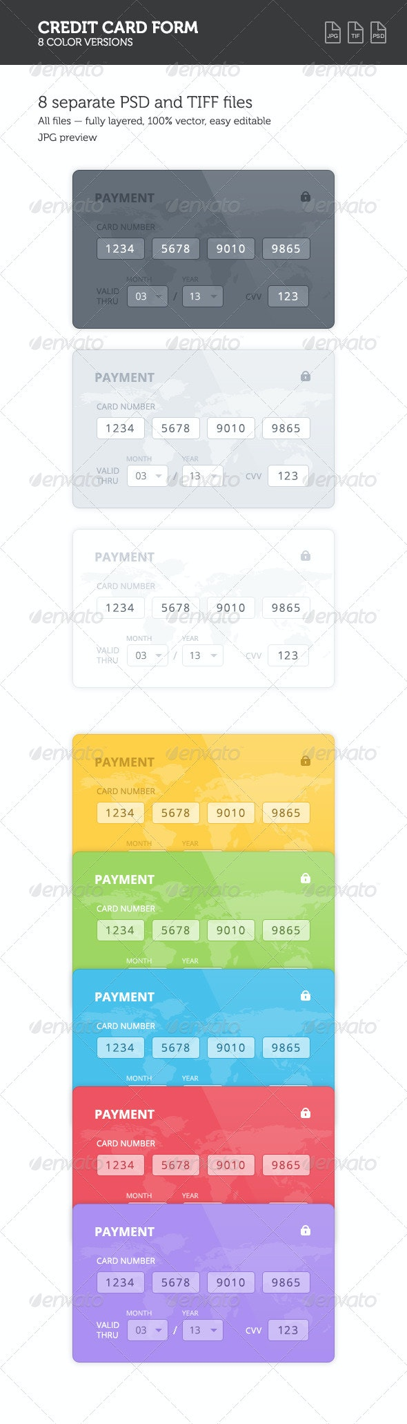 Credit Card 8 Color Forms - Forms Web Elements