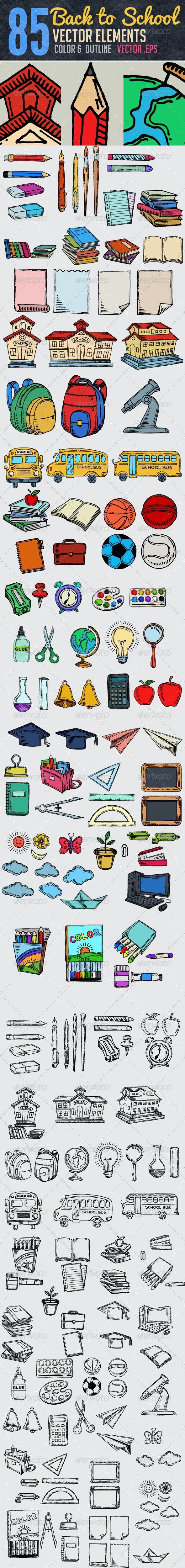 85 Hand Drawn School Elements - Objects Vectors