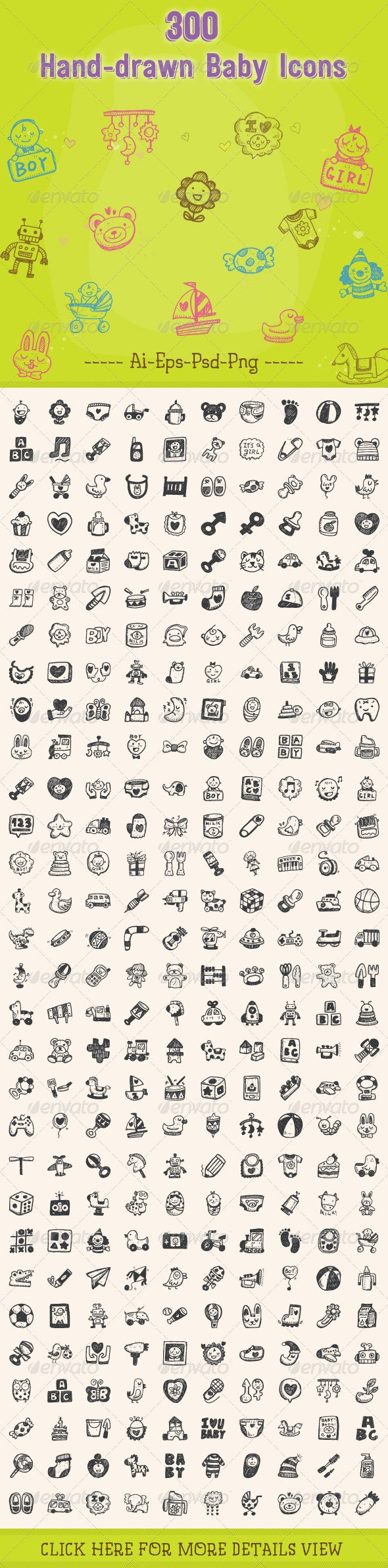 300 Hand Drawn Baby Icons - People Characters