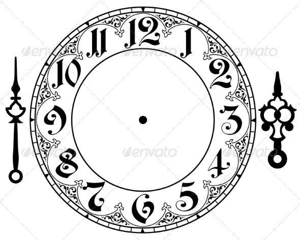 Vintage Clock - Decorative Symbols Decorative