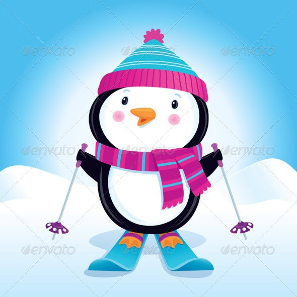 Penguin on Skis - Christmas Seasons/Holidays