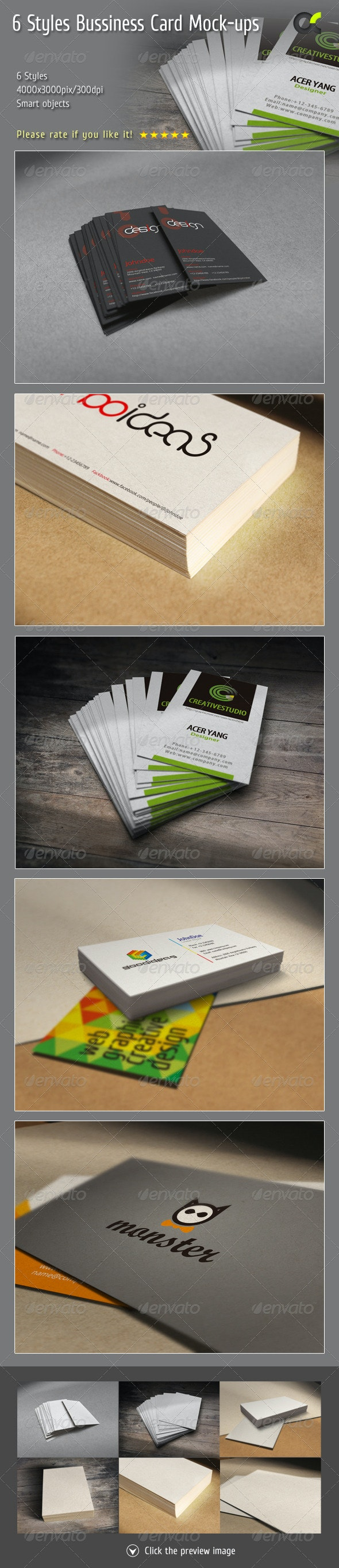 6 Styles Bussiness Card Mock-ups - Product Mock-Ups Graphics