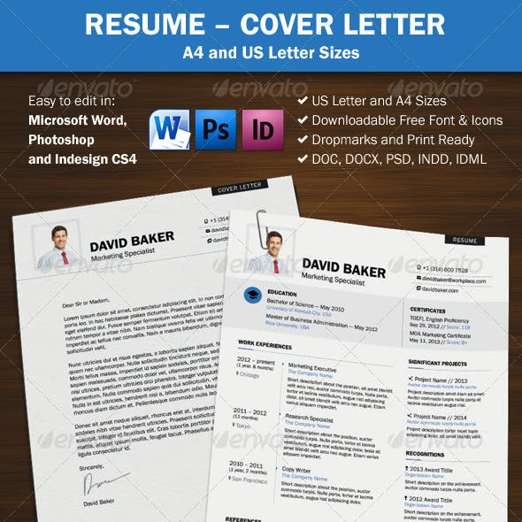 Resume Cover Letter - A4 and US Letter Sizes
