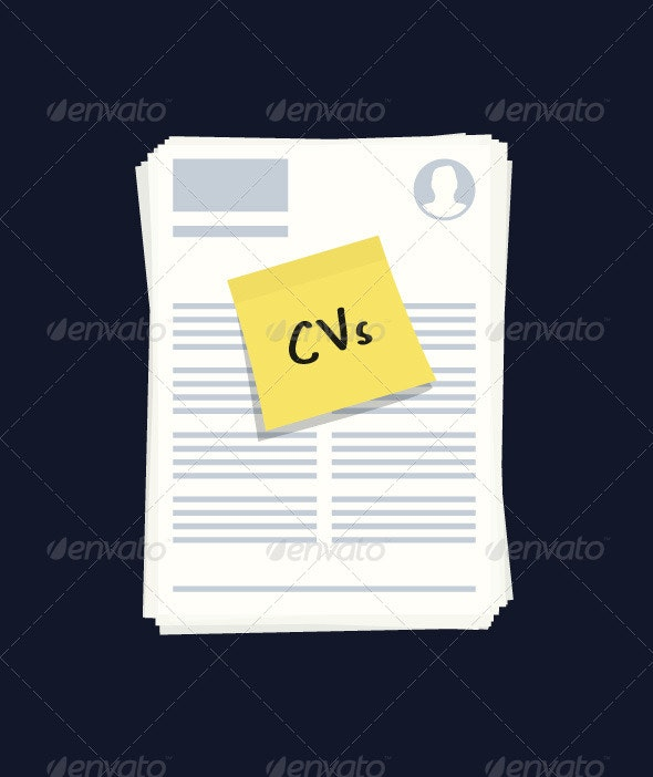 Stack of CVs or Resumes Illustration - Business Conceptual