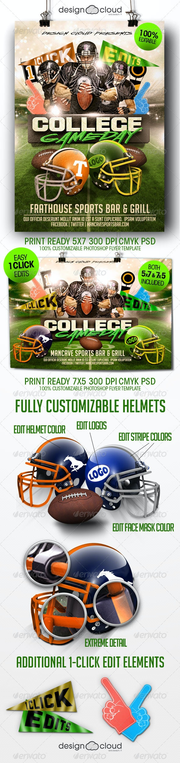 College Football Game Day Flyer Template - Sports Events