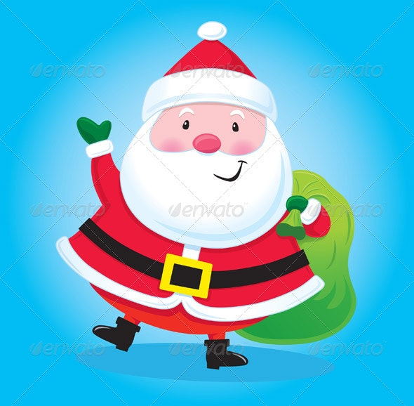 Santa Claus with Bag of Presents - Christmas Seasons/Holidays