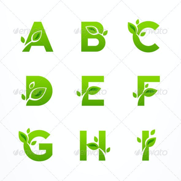 Set of Green Eco Letters with Leaves