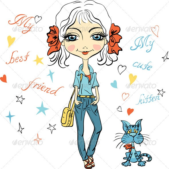 Fashion Girl with Kitten - People Characters