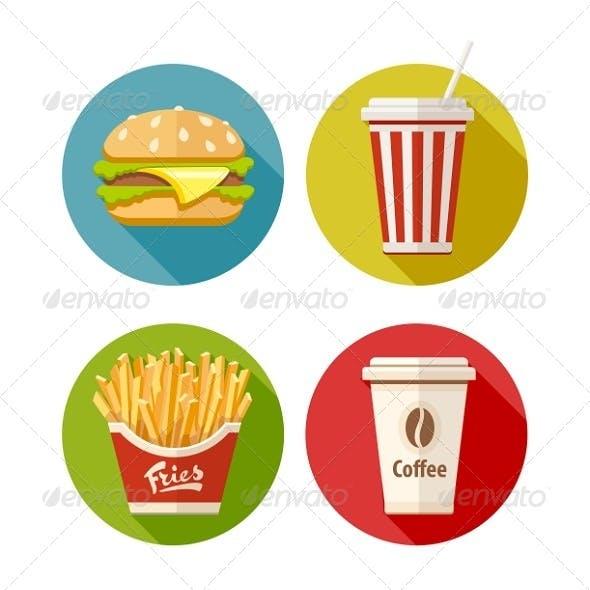 Set of Fast Food Flat Icons